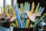 Straws with paper clouds: I cut these out of cardstock.